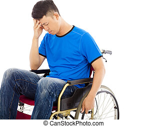 upset handicapped man sitting on a wheelchair