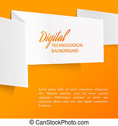 White paper - White paper over orange background Vector...