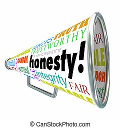 Honesty Sincerity Integrity Virtues Reputation Megaphone...
