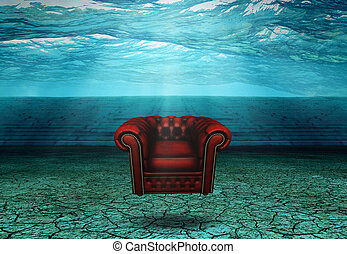 Submerged Chair in Submerged Desert Ruins Floats