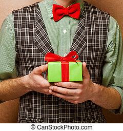 guy holding a gift