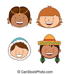 diversity of races over white background vector illustration...