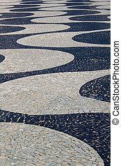 Copacabana - Famous Copacabana Sidewalk near beach .