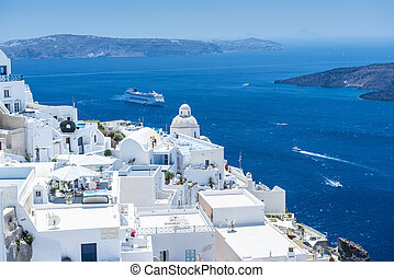 Beautiful View From Fira, Santorini, Greece -...