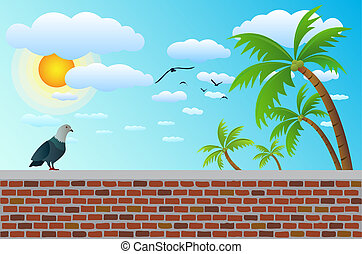a bird on brick fence with coconut tree