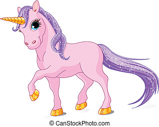 Beautiful Pink Unicorn - Vector Illustration of walking cute...