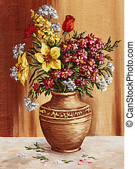 Painting, garden flowers in a clay amphora - Picture...