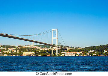 Fatih Sultan Mehmet Bridge over the Bosphorus strait in...