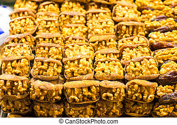 Dry fruits on famous Egyptian bazaar of Istanbul