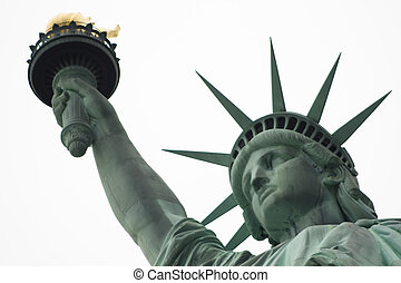 White background Liberty - Close up of the Statue of Liberty...