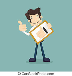 Businessman holding like thumbs up  , eps10 vector format