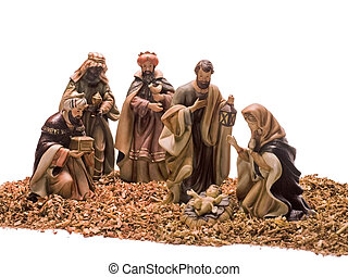 Nativity scene, Jesus, Mary, Joseph and the Three Wise Men