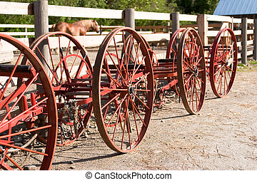 Vintage farm equipement wheels