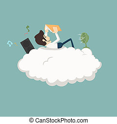 Businessman resting on a cloud  , eps10 vector format