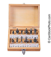 big set of roundover router bits for woodworking in wooden box i