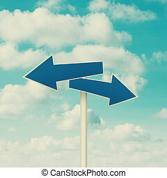 Blank street signs pointing in opposite directions - Two...