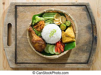 Nasi ayam penyet - Delicious nasi ayam penyet with sambal...