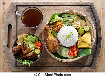 Asian fried chicken meal set - Famous traditional Indonesian...