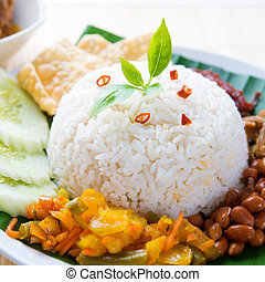 Spicy food nasi lemak - Nasi lemak kukus traditional...