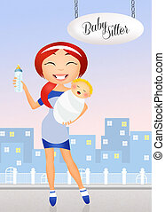 Babysitter - illustration of babysitter