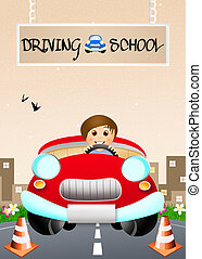 Driving school - illustration of driving school