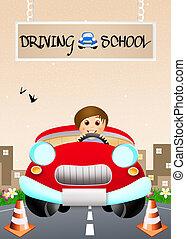 Driving school - illustration of driving school