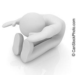 3D, hombre, aislado, blanco, Series:, mañana,...