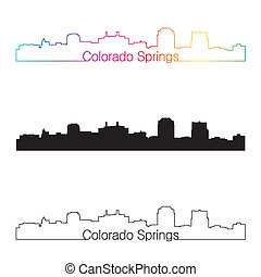 Colorado Springs skyline linear style with rainbow in...