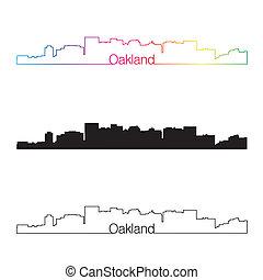 Oakland skyline linear style with rainbow in editable vector...