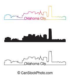 Oklahoma City skyline linear style with rainbow in editable...