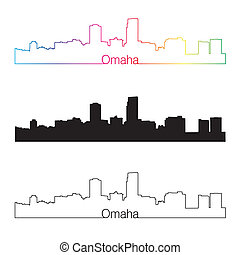 Omaha skyline linear style with rainbow in editable vector...