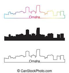Omaha skyline linear style with rainbow in editable vector...