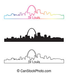 St Louis skyline linear style with rainbow in editable...