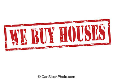 We buy houses - Rubber stamp with text we buy houses inside,...
