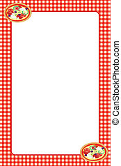 Food themed frame: pizza - Food themed illustrated border...