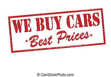 We buy cars - Rubber stamp with text we buy cars inside,...
