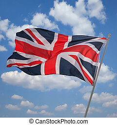 flag - british flag on sky background