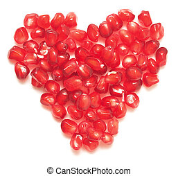 pomegranate heart - pomegranate seeds heart isolated on...