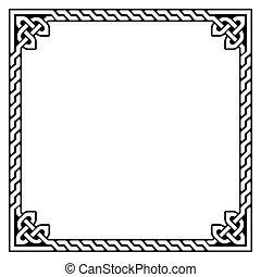Celtic frame, border pattern - Irish, Celtic black square...