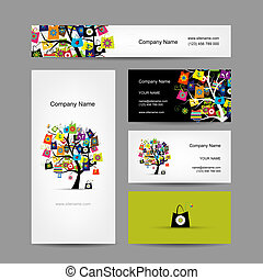 Set of business cards design, shopping tree with bags,...