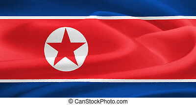 flag of North Korea waving in the wind. Silk texture pattern