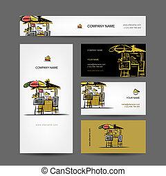 Set of business cards design, street market