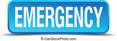 emergency blue 3d realistic square isolated button