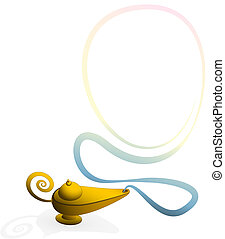 Magic Lamp Smoke Ring - Magic lamp with a smoke ring to...