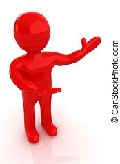 3d people - man, person presenting - pointing.