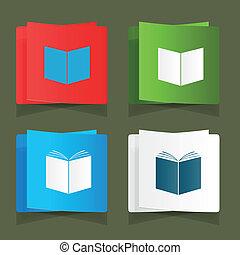 Set icon of an open book vector