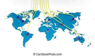 mundo, mapa, internet, múltiplo, Acceso, puntos,...