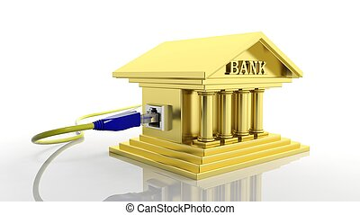 Gold bank icon with internet access plug isolated