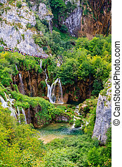 Waterfall at Plitvice lakes - Beautiful Waterfall Cascades...