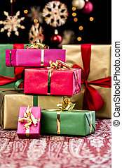Stack of Plain Colored Xmas Gifts - Pile of Christmas gifts...